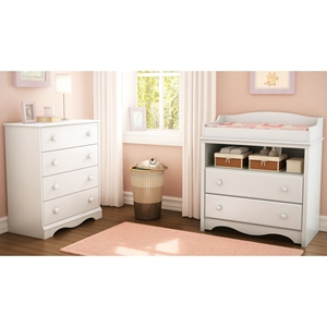 Heavenly White Changing Table and Chest Set