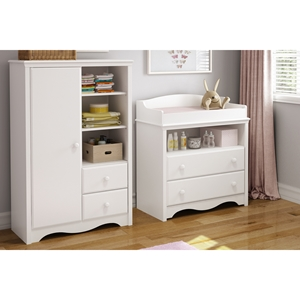 Heavenly Changing Table and Armoire - Pure White
