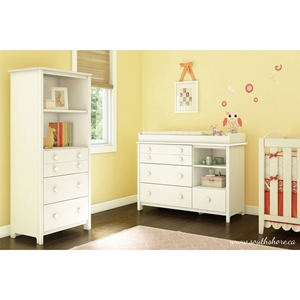 Little Smileys Changing Table and Shelving Unit - Pure White
