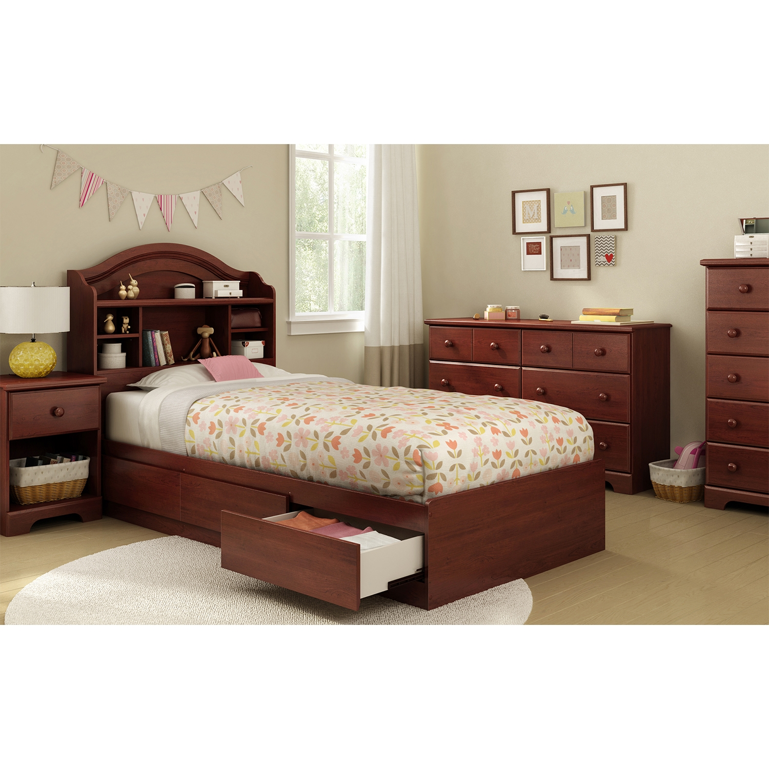 Summer Breeze 1 Drawer Nightstand - Royal Cherry - SS-3746062