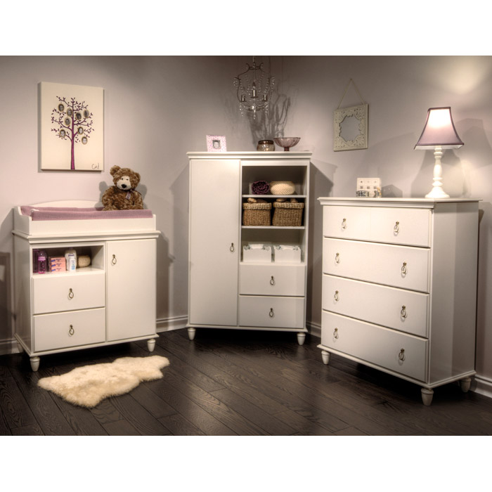 Moonlight Pure White Door Chest with Open Shelves - SS-3760038