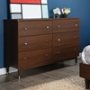 Olly 6 Drawers Double Dresser - Brown Walnut - SS-3828027