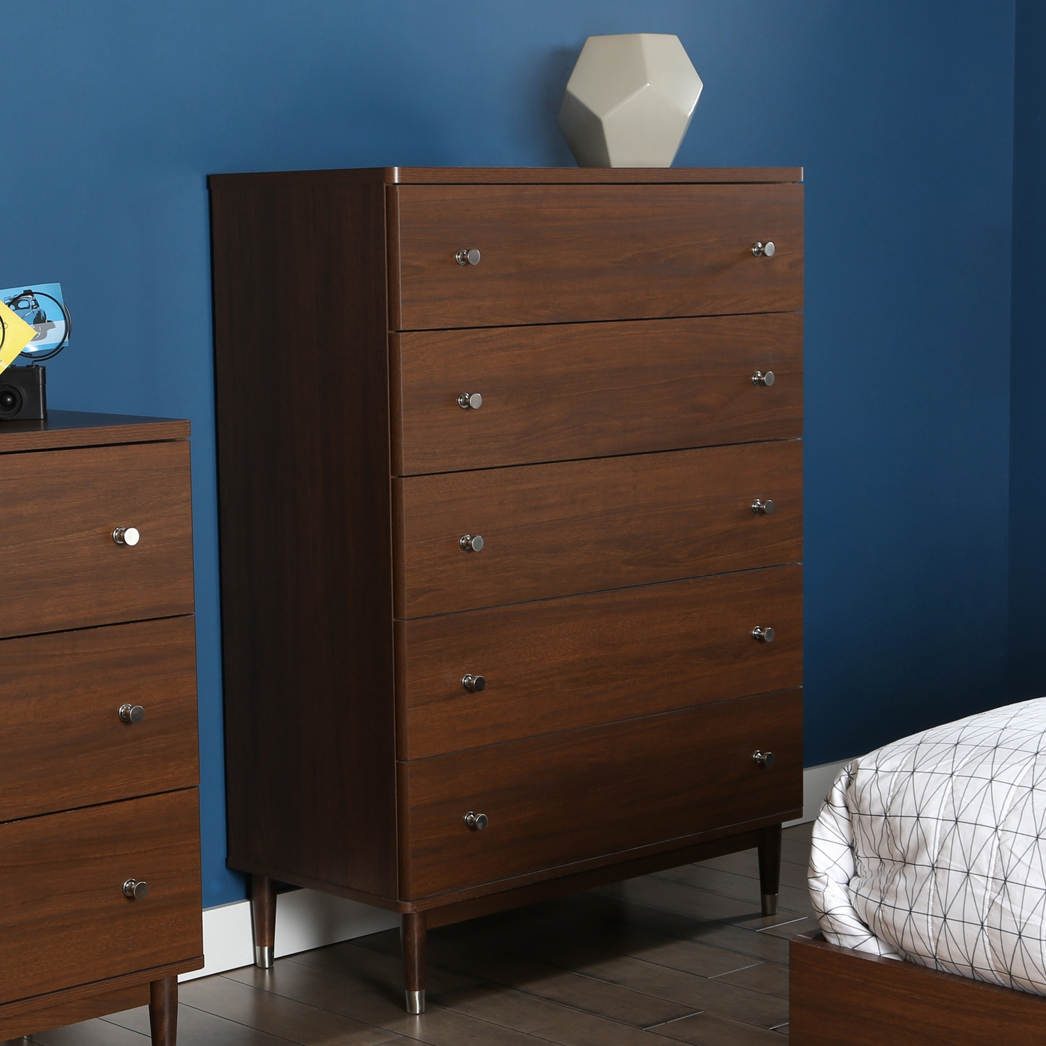 Olly 5 Drawers Chest - Brown Walnut - SS-3828035