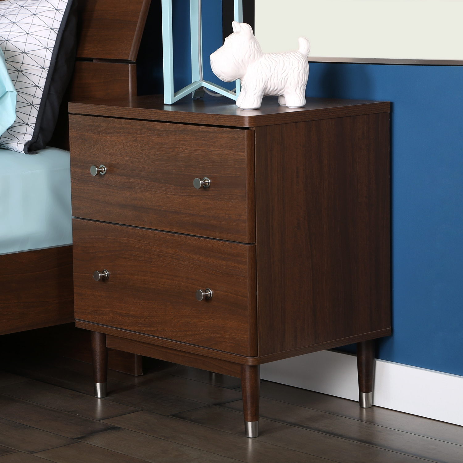 Olly 2 Drawers Nightstand - Brown Walnut - SS-3828062