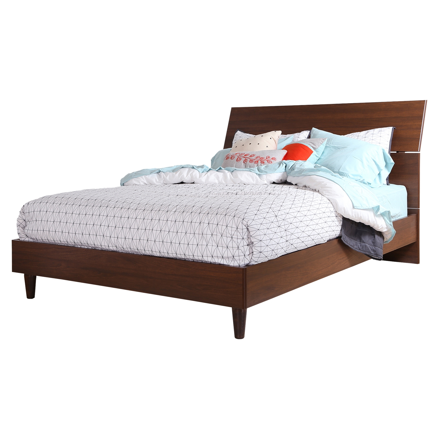 Olly Queen Platform Bed - Headboard, Brown Walnut - SS-3828282