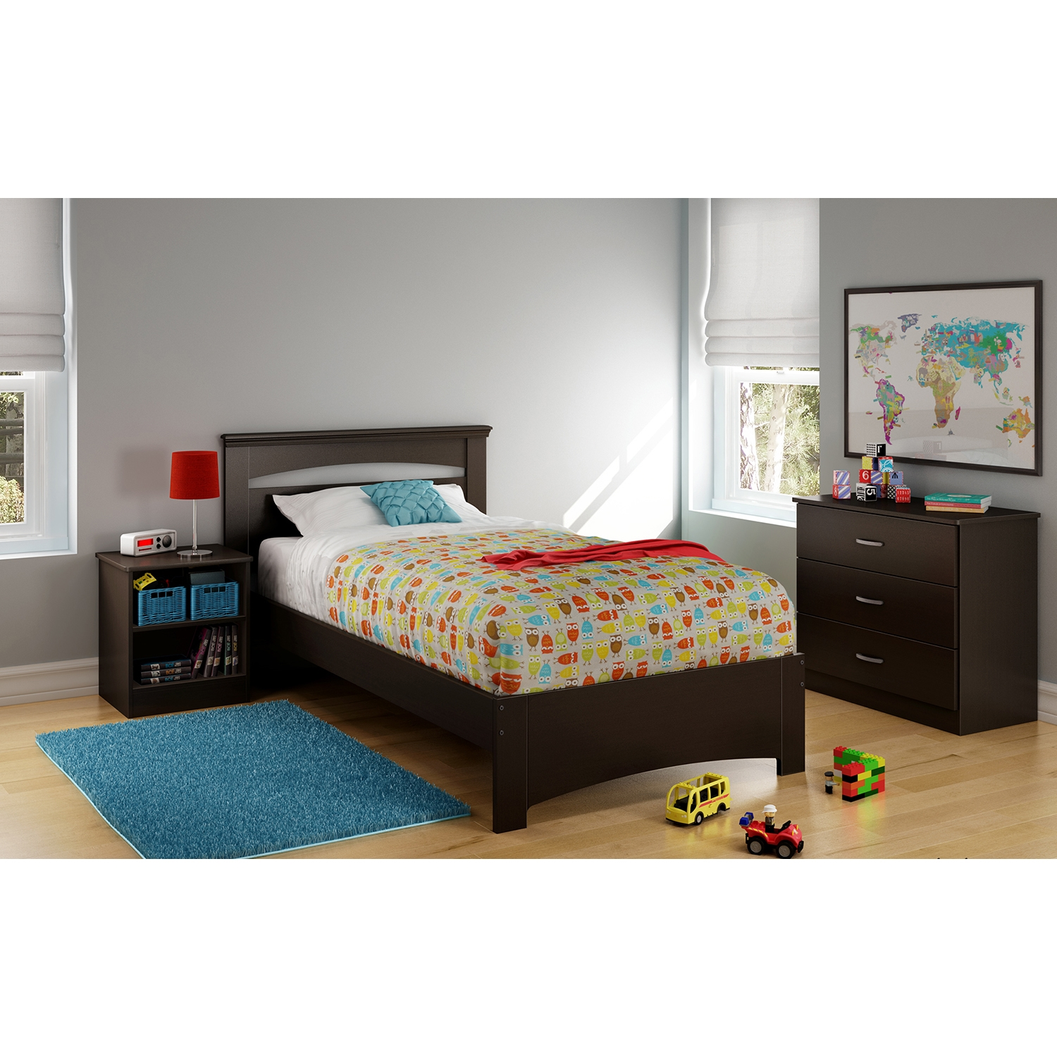 Libra Twin Bed - Chocolate - SS-3859189