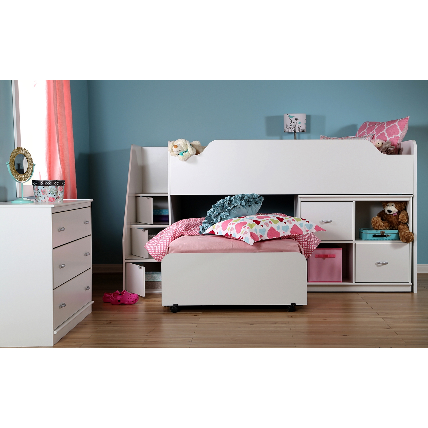 Mobby Twin Loft Bed with Stairs - Pure White - SS-3880087