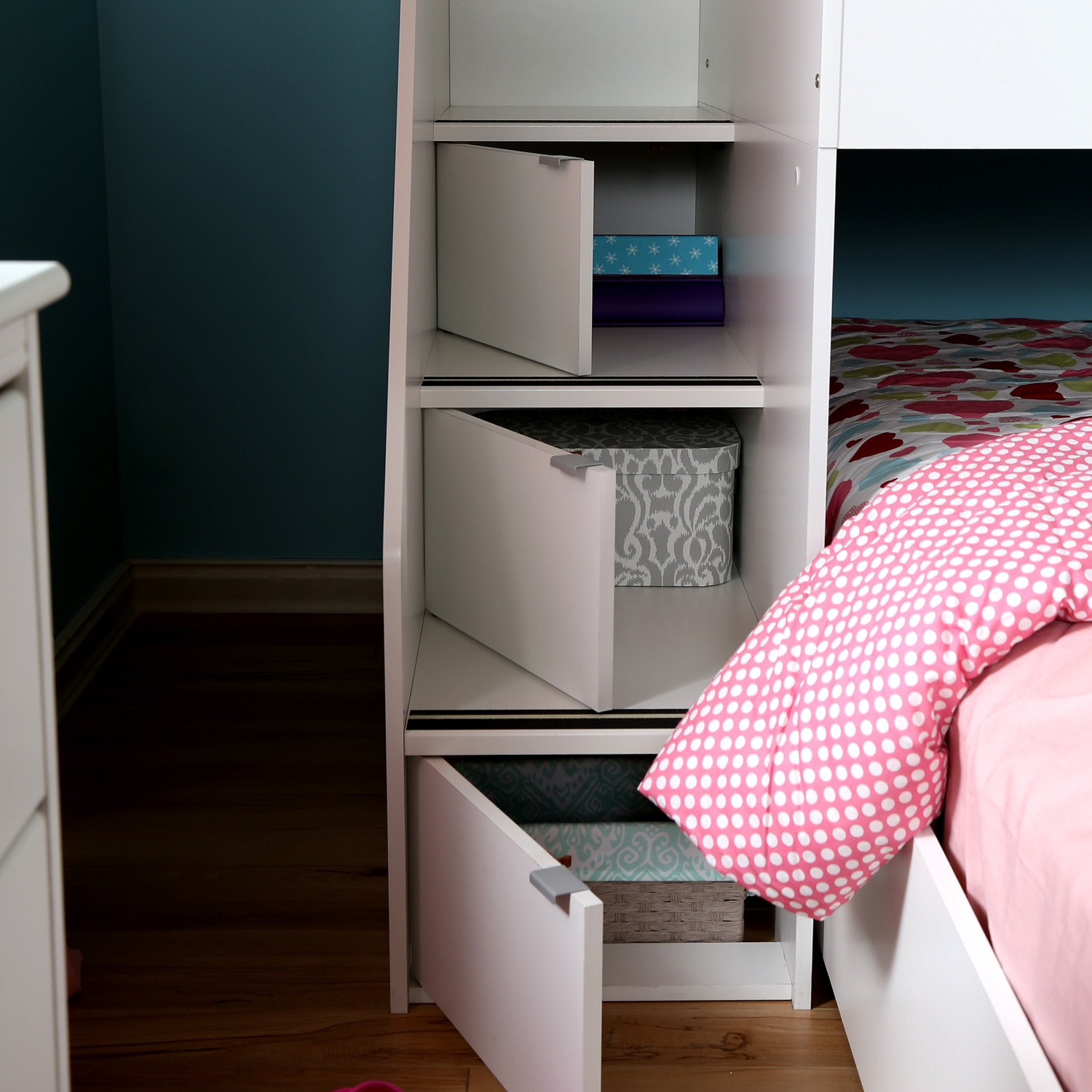 Mobby Twin Loft Bed with Stairs - Trundle, Storage Unit, Pure White - SS-3880A3