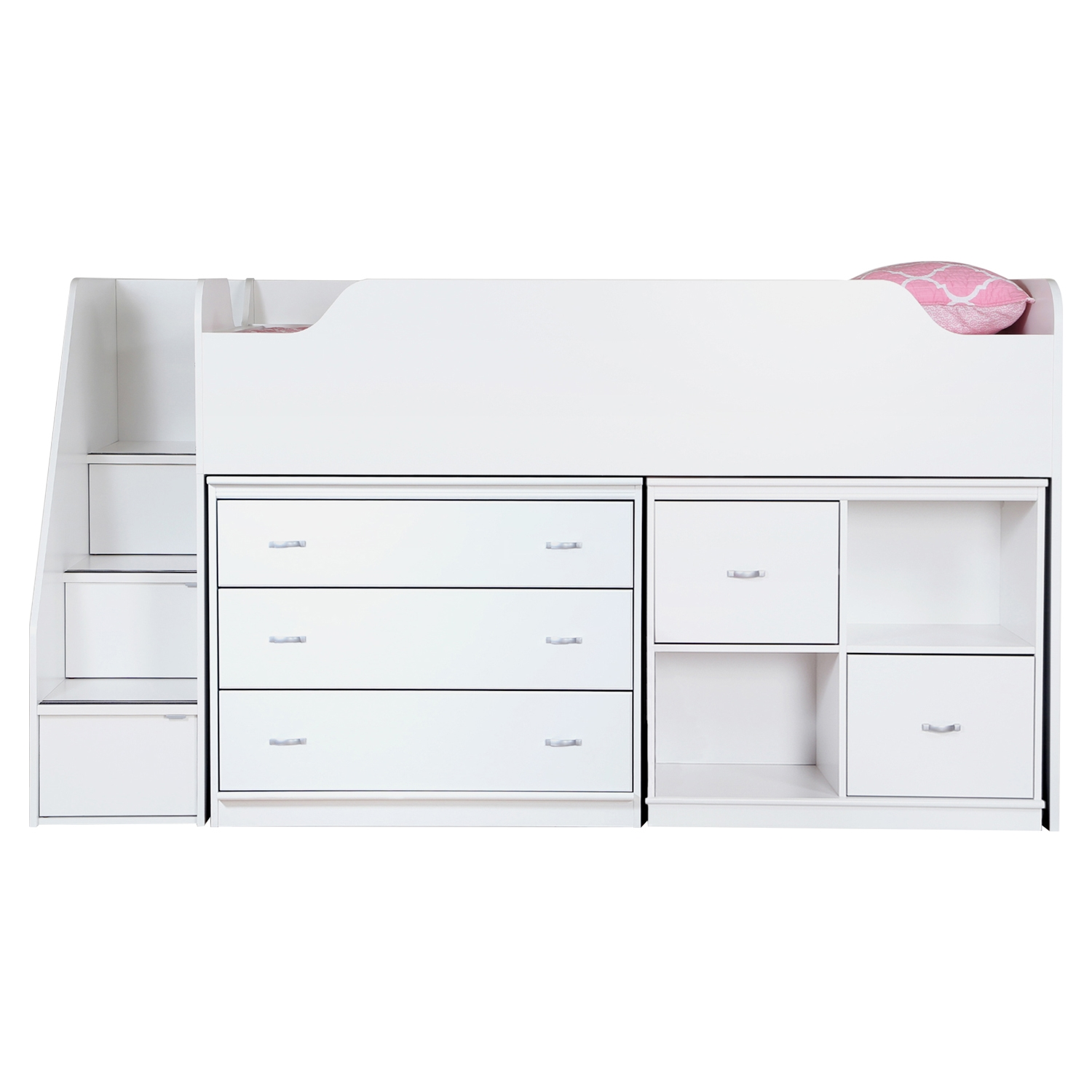 Mobby Twin Loft Bed with Stairs- Chest, Storage Unit, Pure White - SS-3880B3