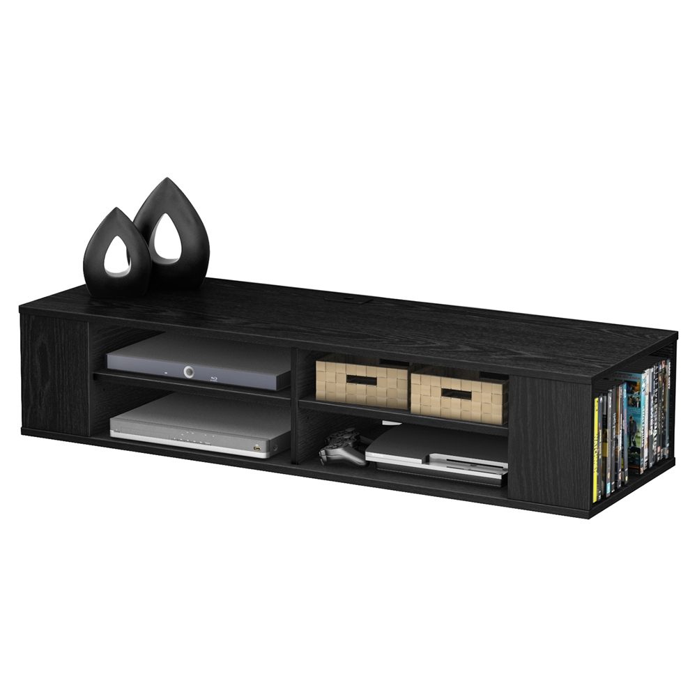 city life wall mounted media console black oak dcg stores. Black Bedroom Furniture Sets. Home Design Ideas