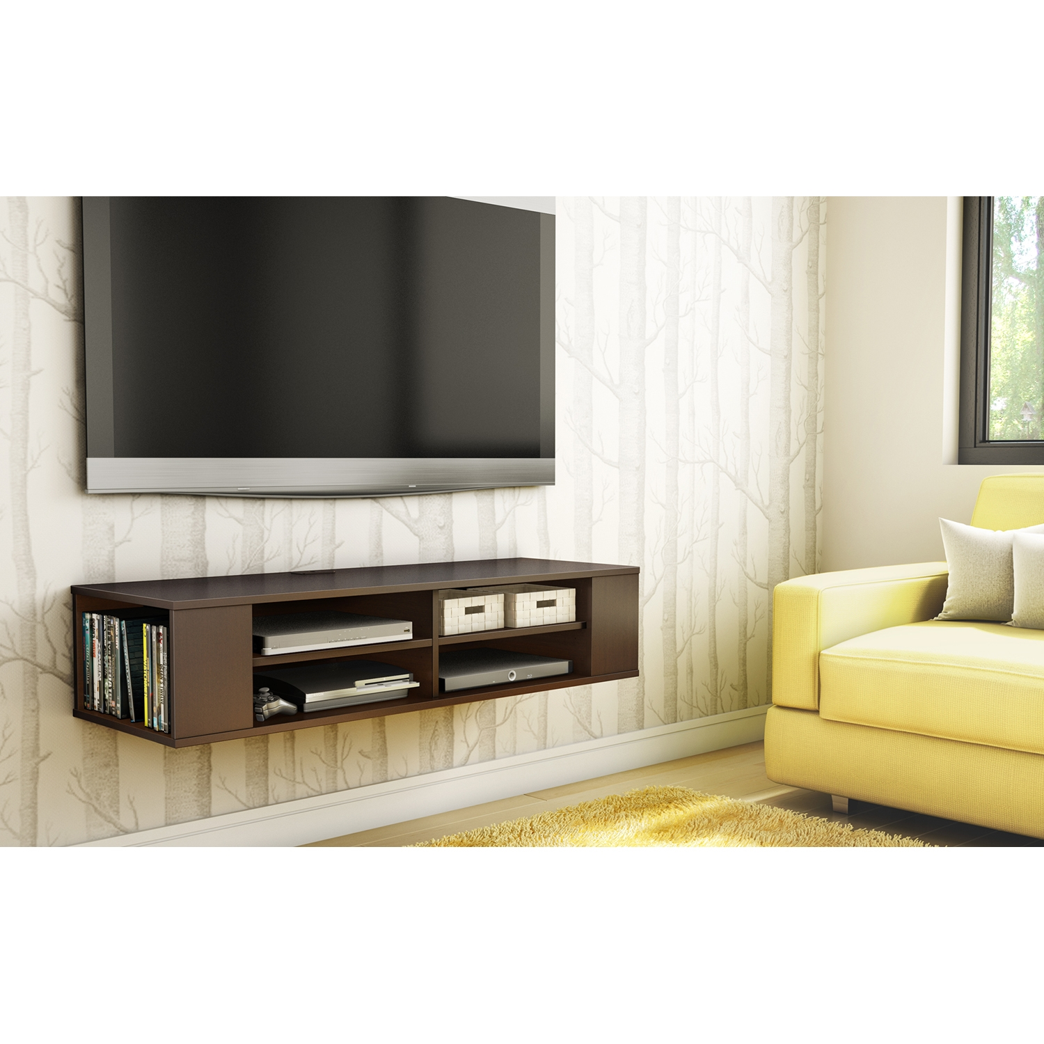 City Life Wall Mounted Media Console - Chocolate - SS-4419675