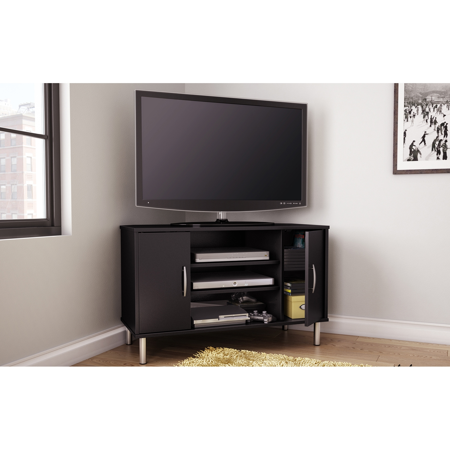 Renta Corner TV Stand - 2 Doors, 3 Shelves, Pure Black - SS-4507690