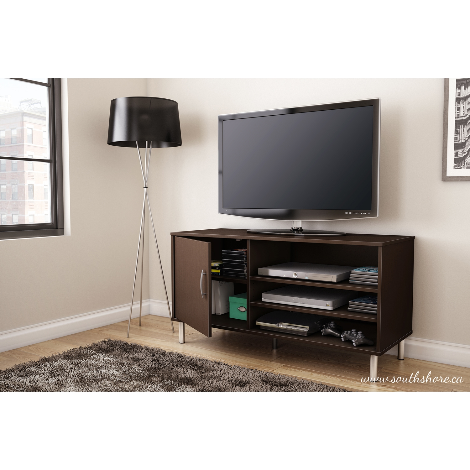 Renta TV Stand - 1 Door, 3 Shelves, Chocolate - SS-4519676