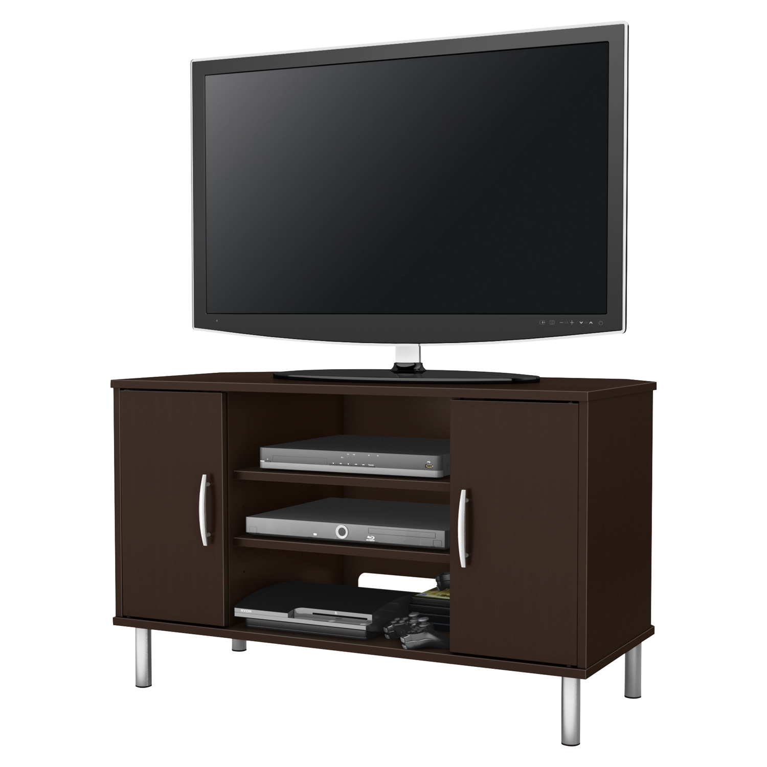 Renta Corner TV Stand - 2 Doors, 3 Shelves, Chocolate - SS-4519690