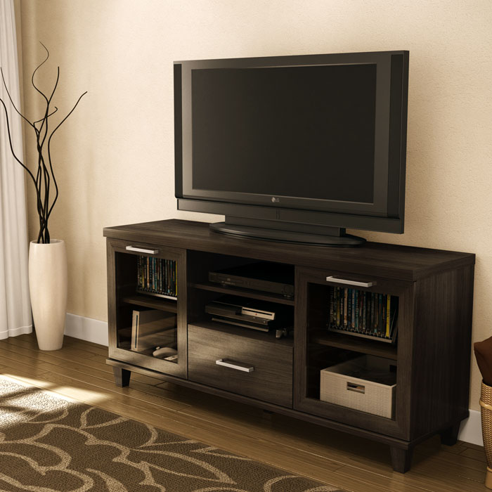 Adrian TV Stand with 2 Glass Doors and 1 Drawer - SS-4909662