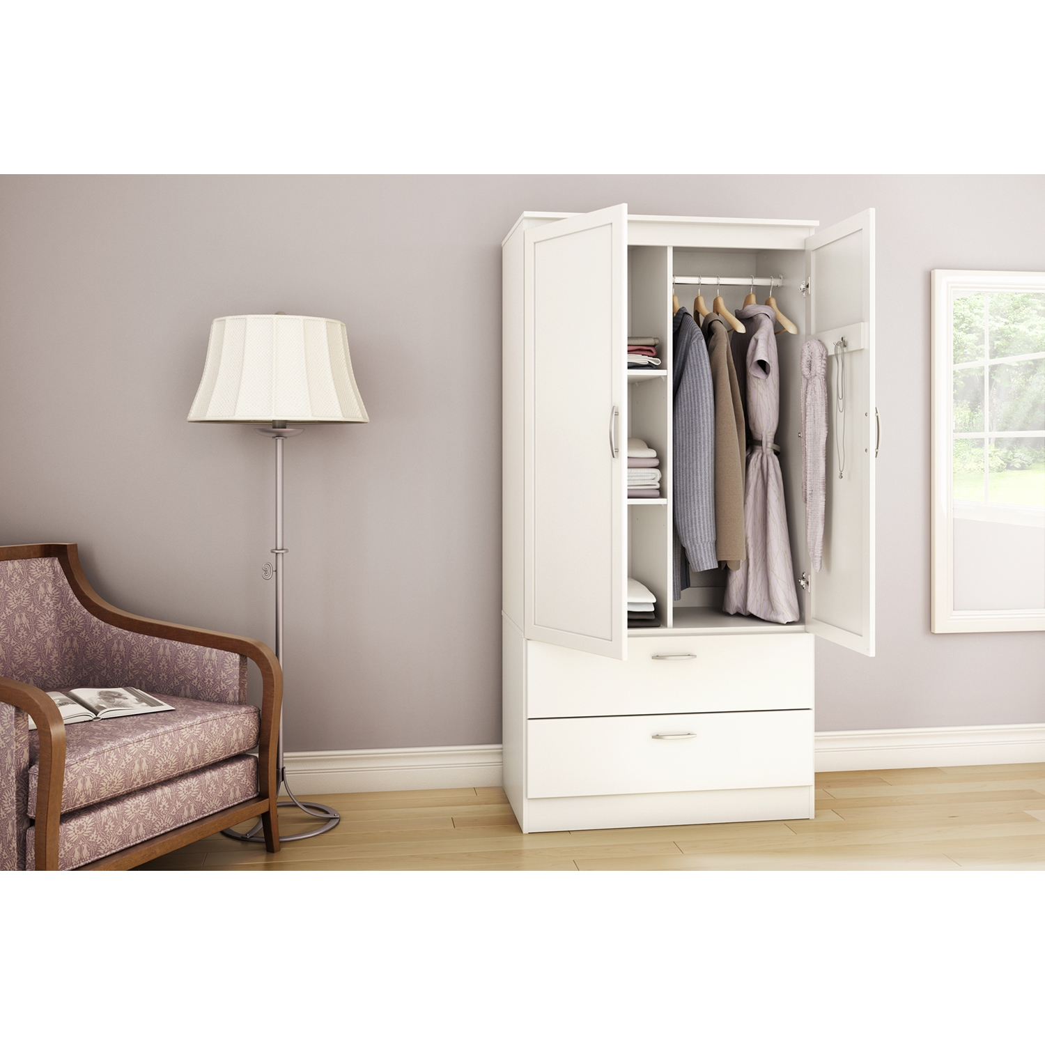 Acapella Wardrobe Armoire - Pure White - SS-5350038