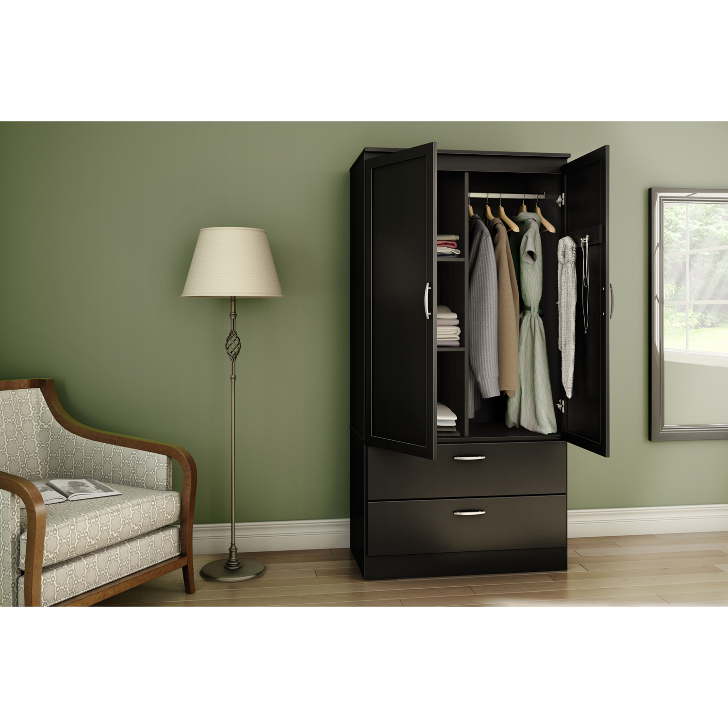 Acapella Wardrobe Armoire - Pure Black - SS-5370038