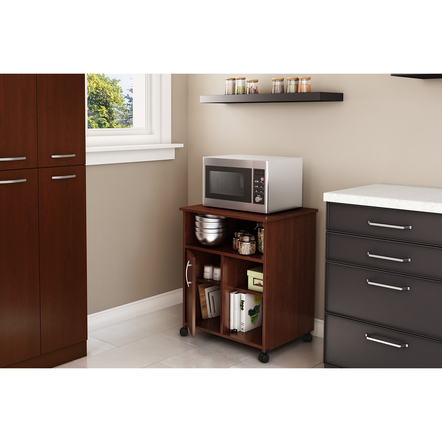 Axess Microwave Cart - Storage, Wheels, Royal Cherry - SS-7246B1