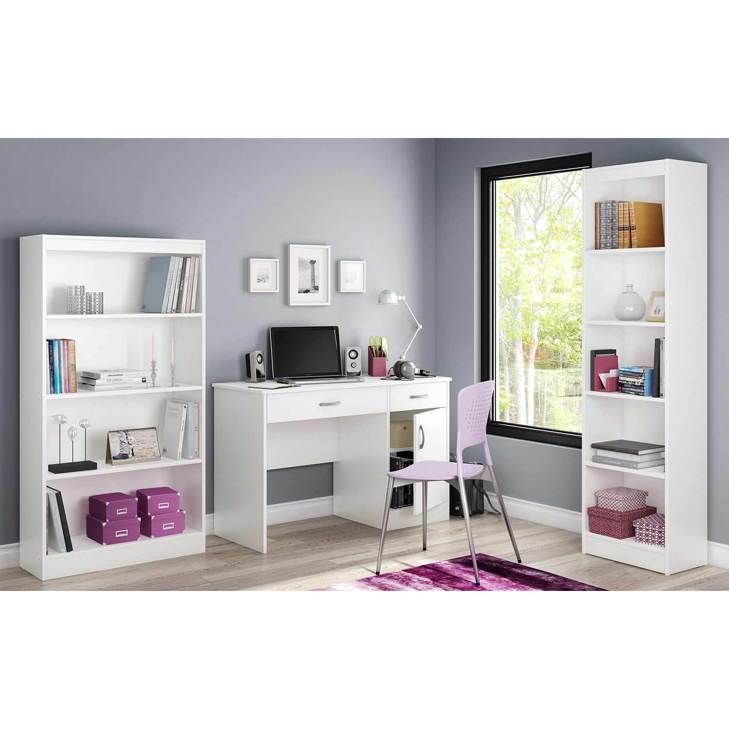 Axess Small Desk - 2 Drawers, 1 Door, Pure White - SS-7250070