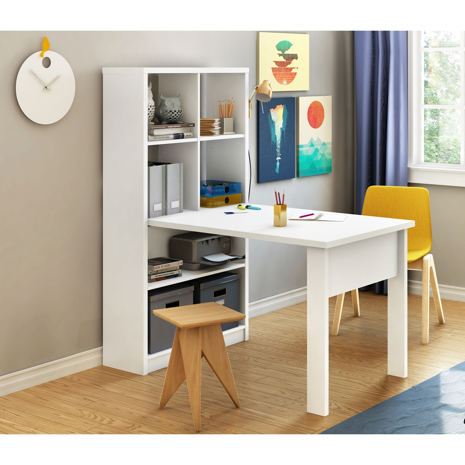 Annexe Work Table and Storage Unit Combo - Pure White - SS-7250798