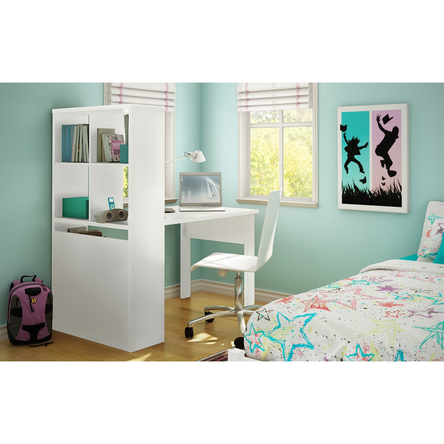 Annexe Craft Table and Storage Unit Combo - Pure White - SS-7250A1