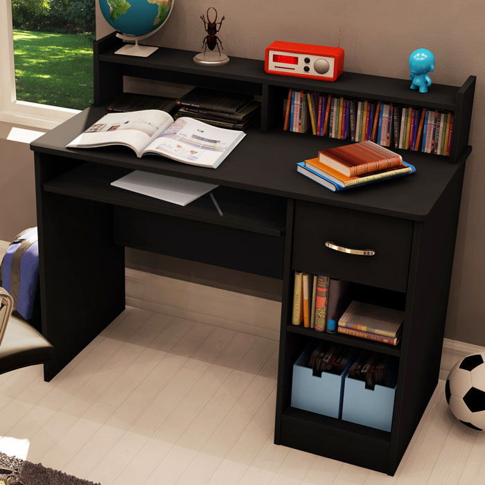 As Black Computer Desk With Low Hutch Ss 7270076