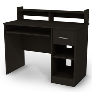 Axess Black Computer Desk with Low Hutch