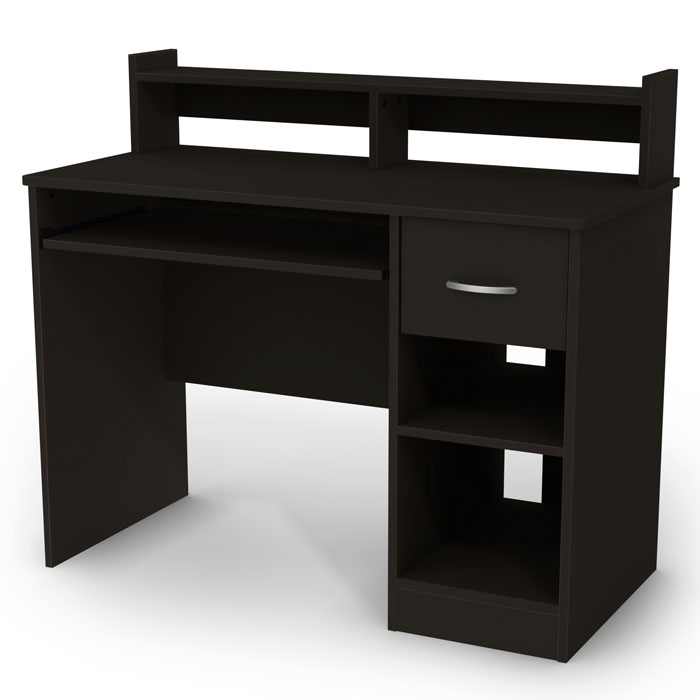 Axess Black Computer Desk with Low Hutch | DCG Stores