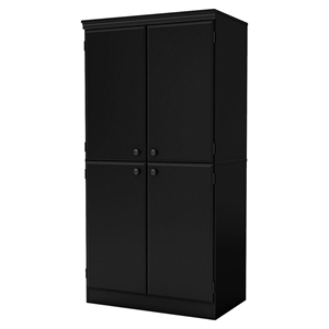 Morgan 4 Doors Armoire - Pure Black
