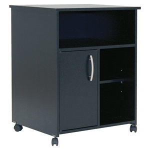 Axess Microwave Cart - Storage, Wheels, Pure Black