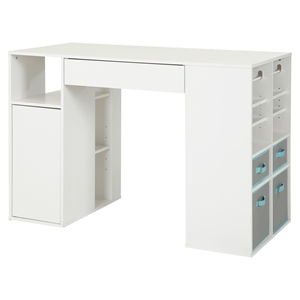Crea Counter Height Craft Table - Storage, Pure White