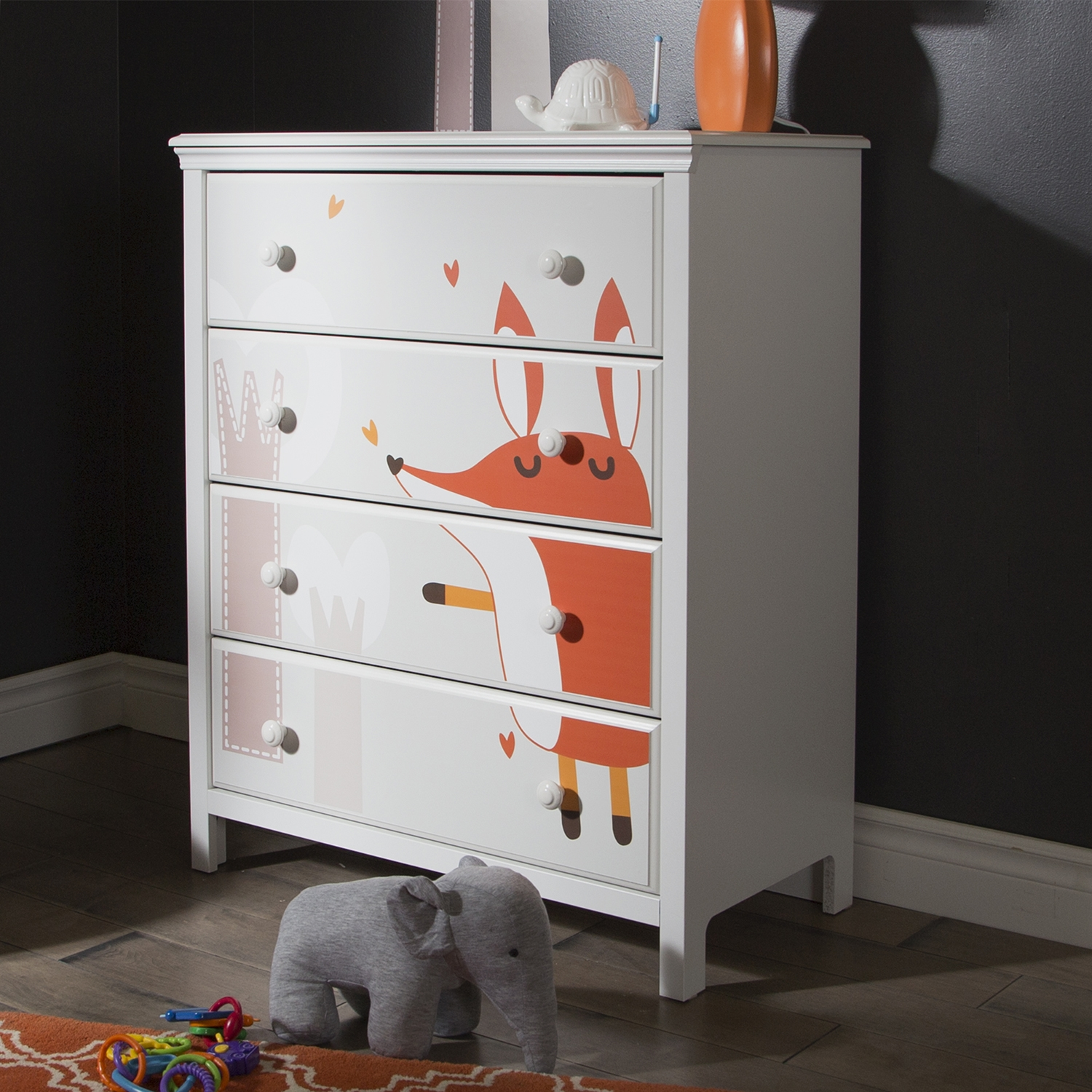 Cotton Candy Chest with Fox Decals - Pure White, 4 Drawers - SS-8050004K