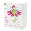 Joy Twin Mates Bedroom Set - Drawers and Flowers Wall Decal Set, Pure White - SS-8050119K-BED-SET
