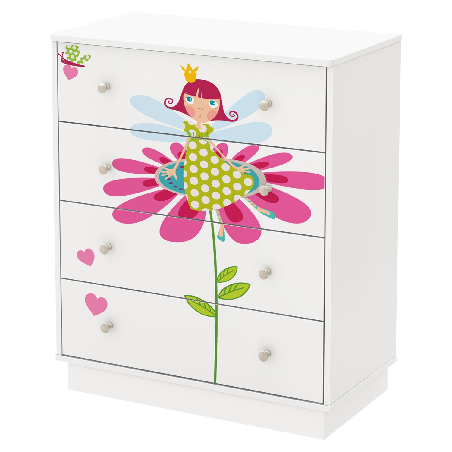 Joy 4 Drawers Chest - Fairy Decals, Pure White - SS-8050007K