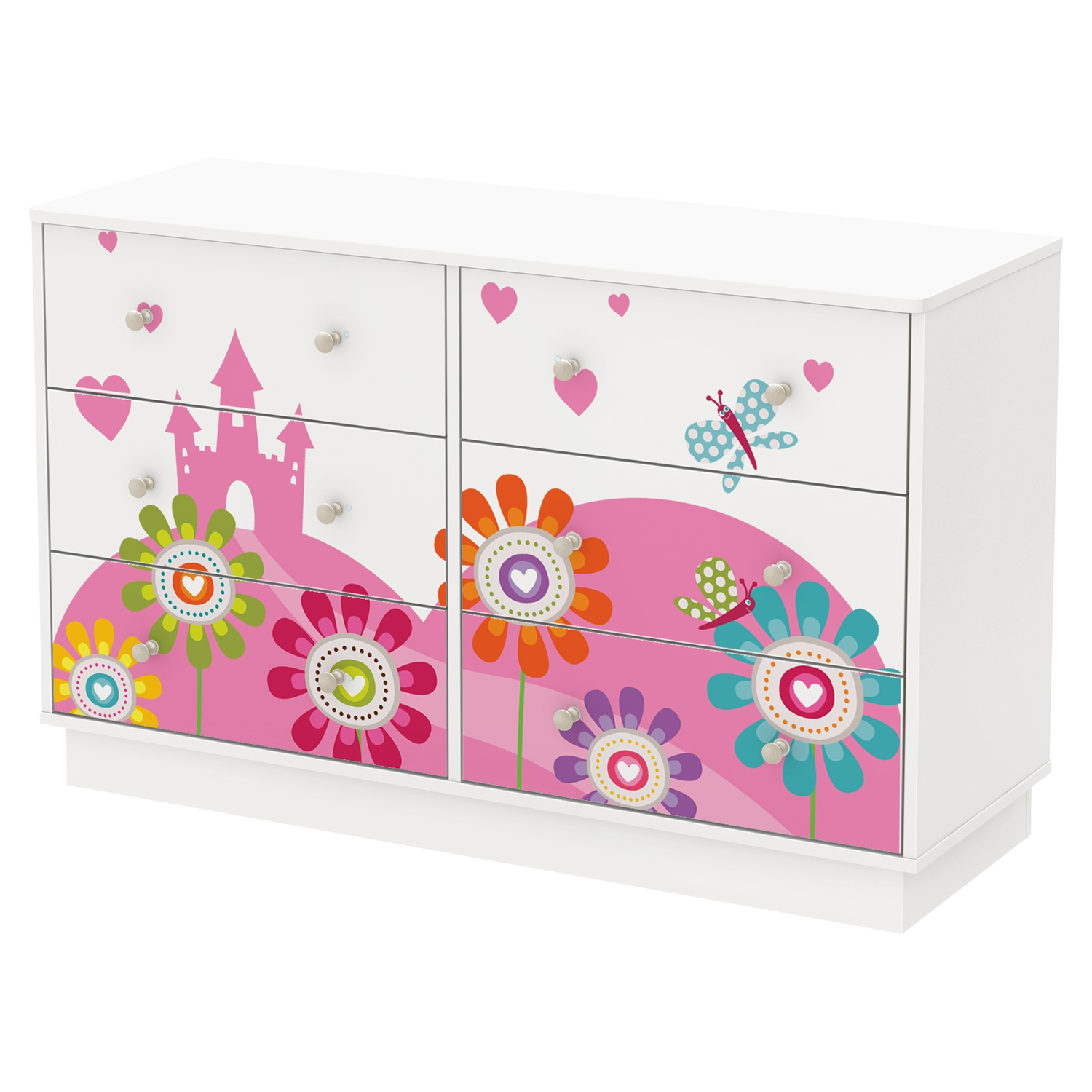 Joy 6 Drawers Double Dresser - Flowers and Castle Decals, Pure White - SS-8050009K