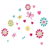 Joy Flowers Wall Decals Set - Pink, Blue