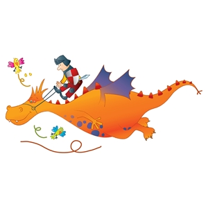 Andy Orange Dragon Wall Decal