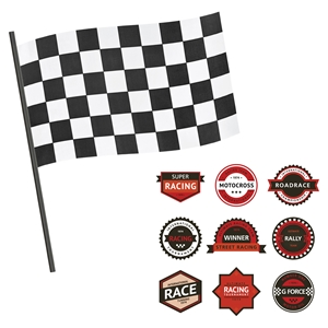 Luka Racing Flag and Race Badges Wall Decals Set - Red and Black