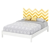 Step One Queen Platform Bed with Legs - Yellow Chevron Decal, Pure White - SS-8050089K