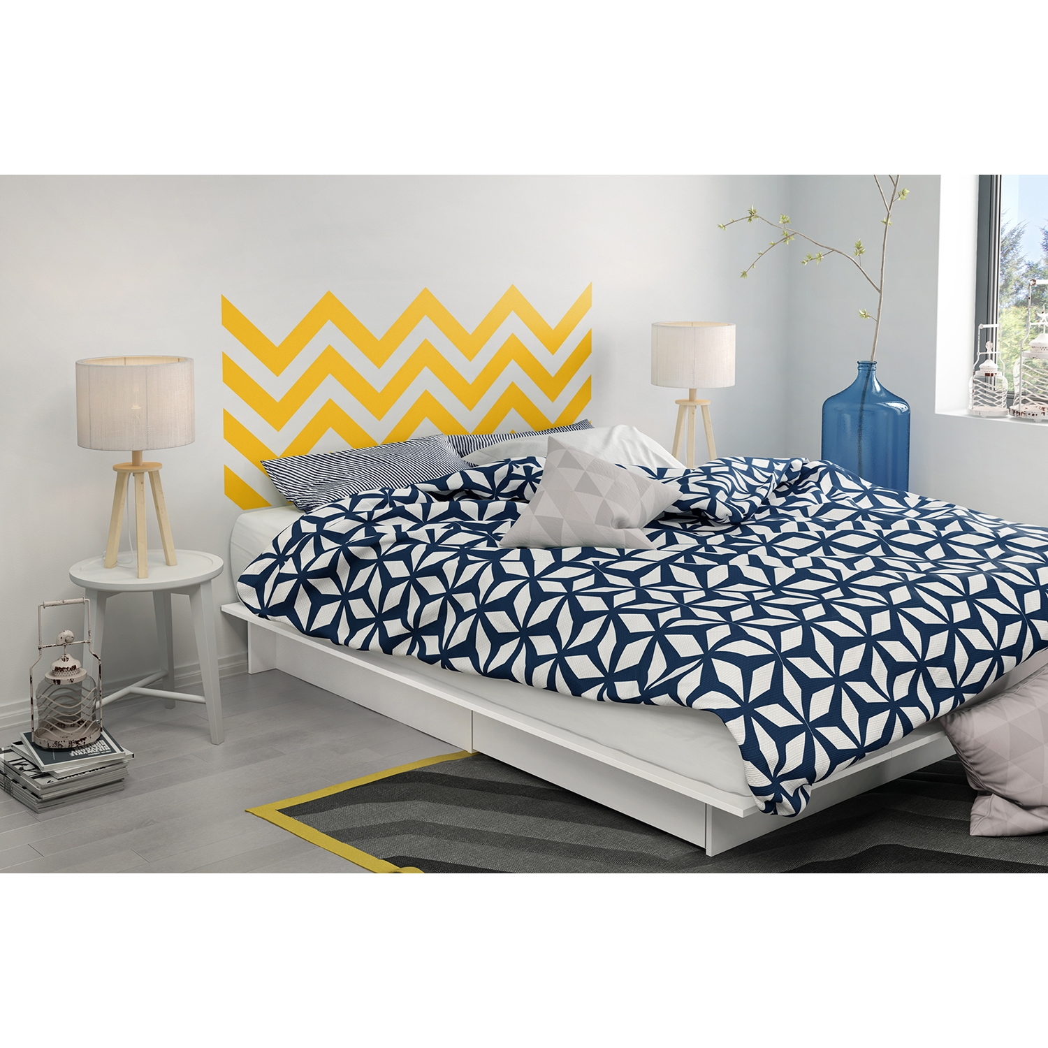 Step One Queen Storage Platform Bed - Yellow Chevron Decal, Pure White - SS-8050090K