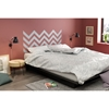 Step One Queen Platform Bed - Gray Chevron Decal, Pure Black - SS-8050094K