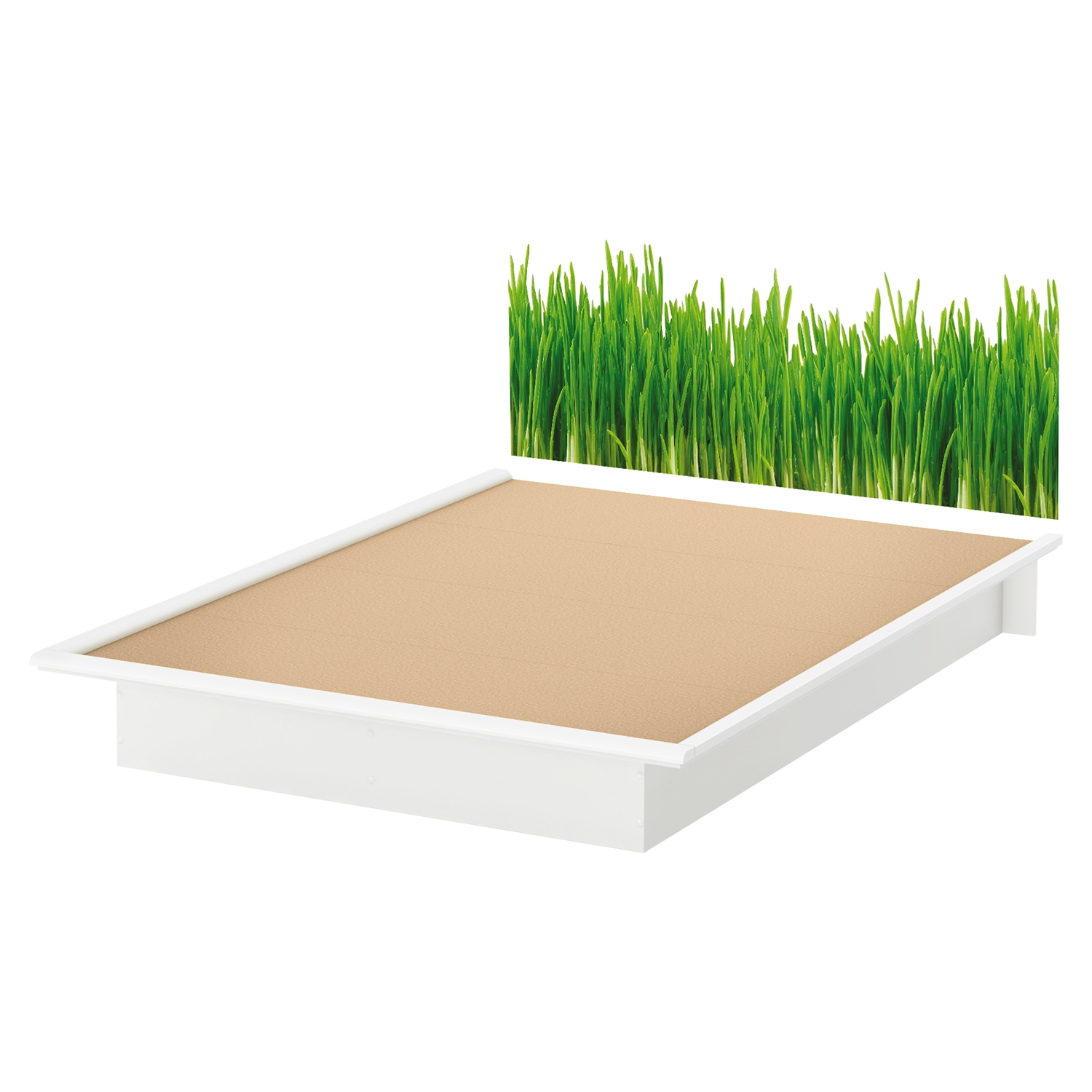 Step One Queen Platform Bed - Grass Decal, Pure White - SS-8050098K