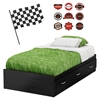 Luka Twin Mates Bed - Racing Flag, Race Badges Wall Decals, Black Onyx - SS-8050117K