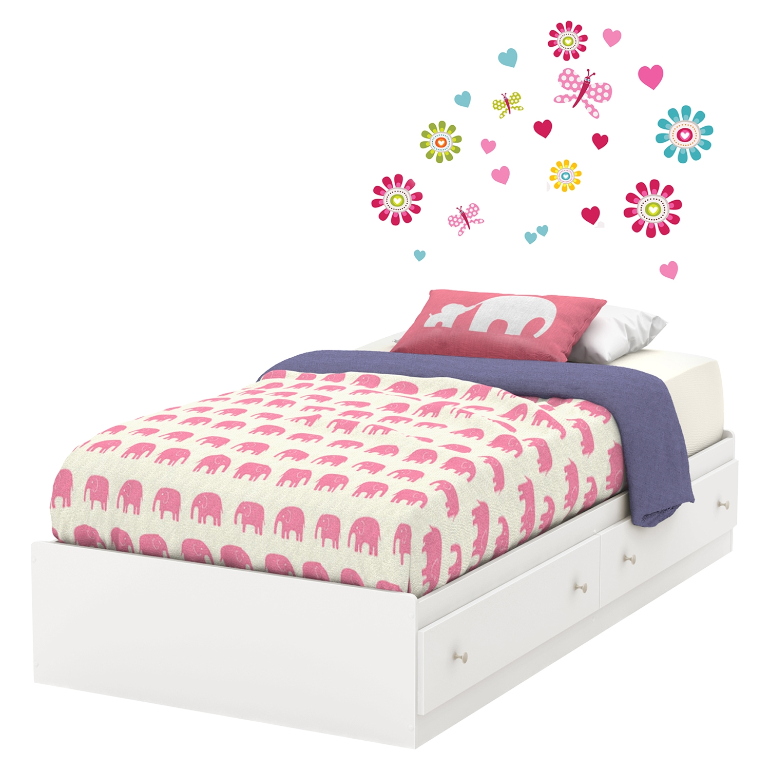 Joy Twin Mates Bed - Drawers and Flowers Wall Decals Set, Pure White - SS-8050119K