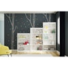 Axess 5 Shelves Bookcase - Birch Tree and Colored Dots Decals, Pure White - SS-8050128K