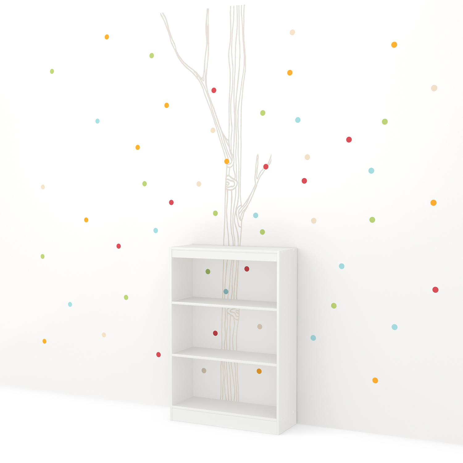 Axess 3 Shelves Bookcase - Birch Tree and Colored Dots Decals, Pure White - SS-8050126K