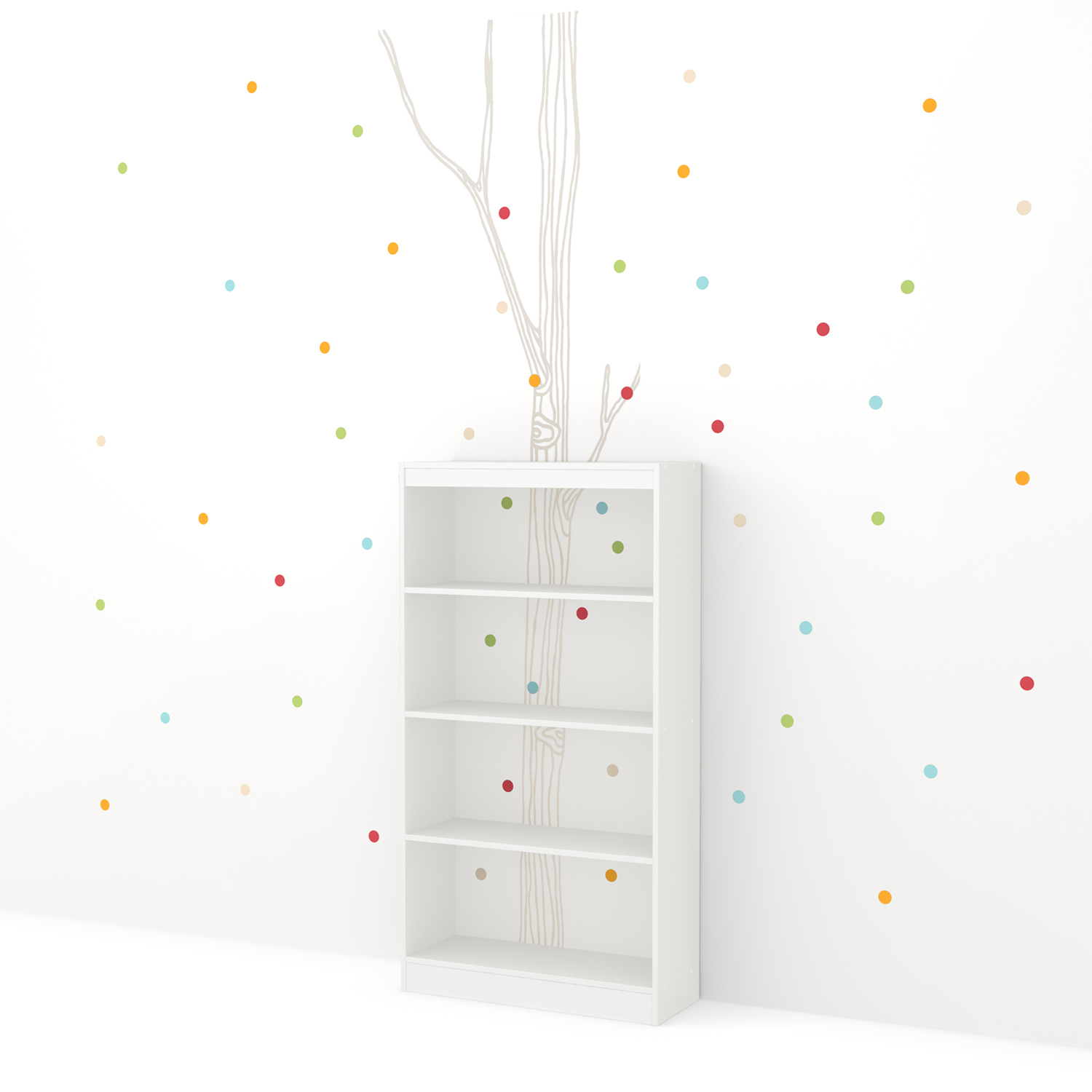 Axess 4 Shelves Bookcase - Birch Tree and Colored Dots Decals, Pure White - SS-8050127K