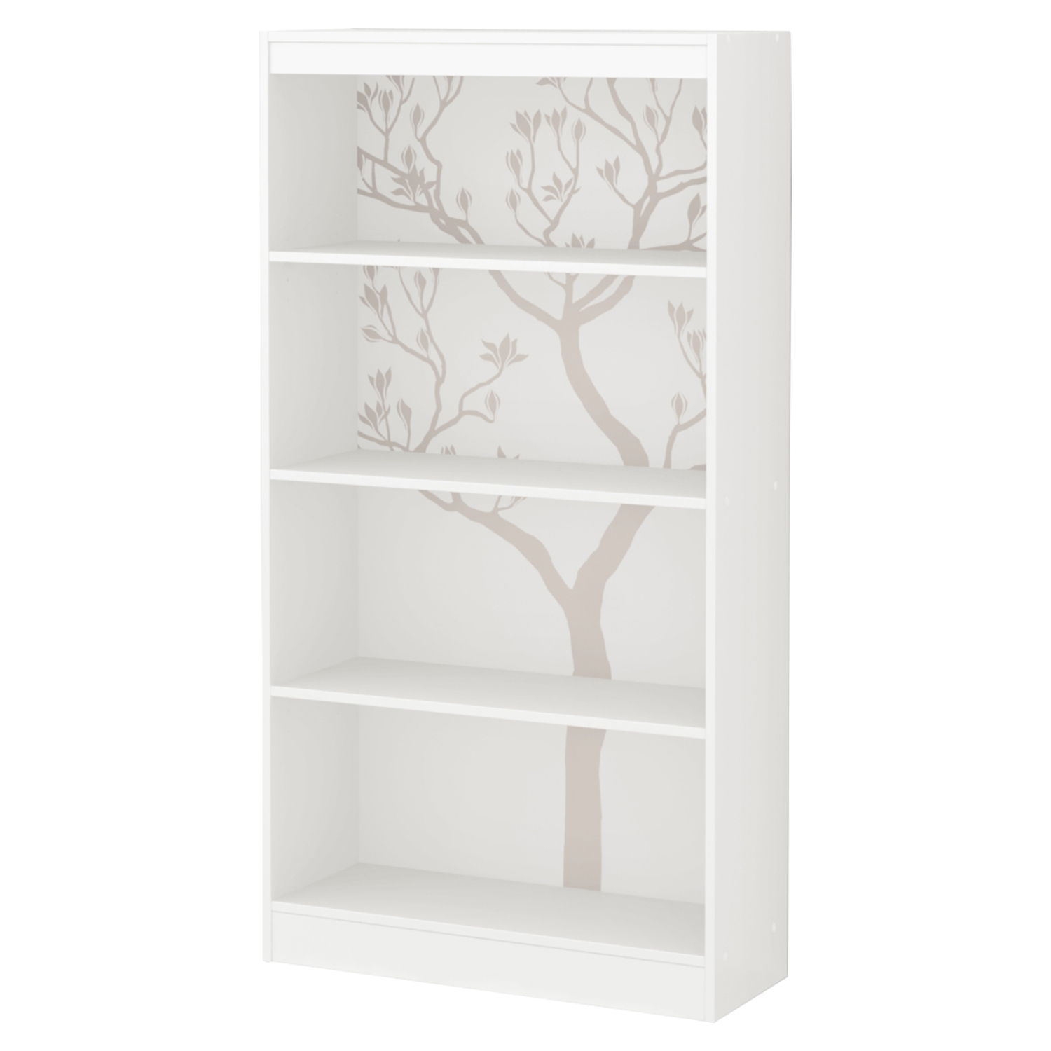 Axess Bookcase - 4 Shelves, Romantic Tree Decals, Pure White - SS-8050130K