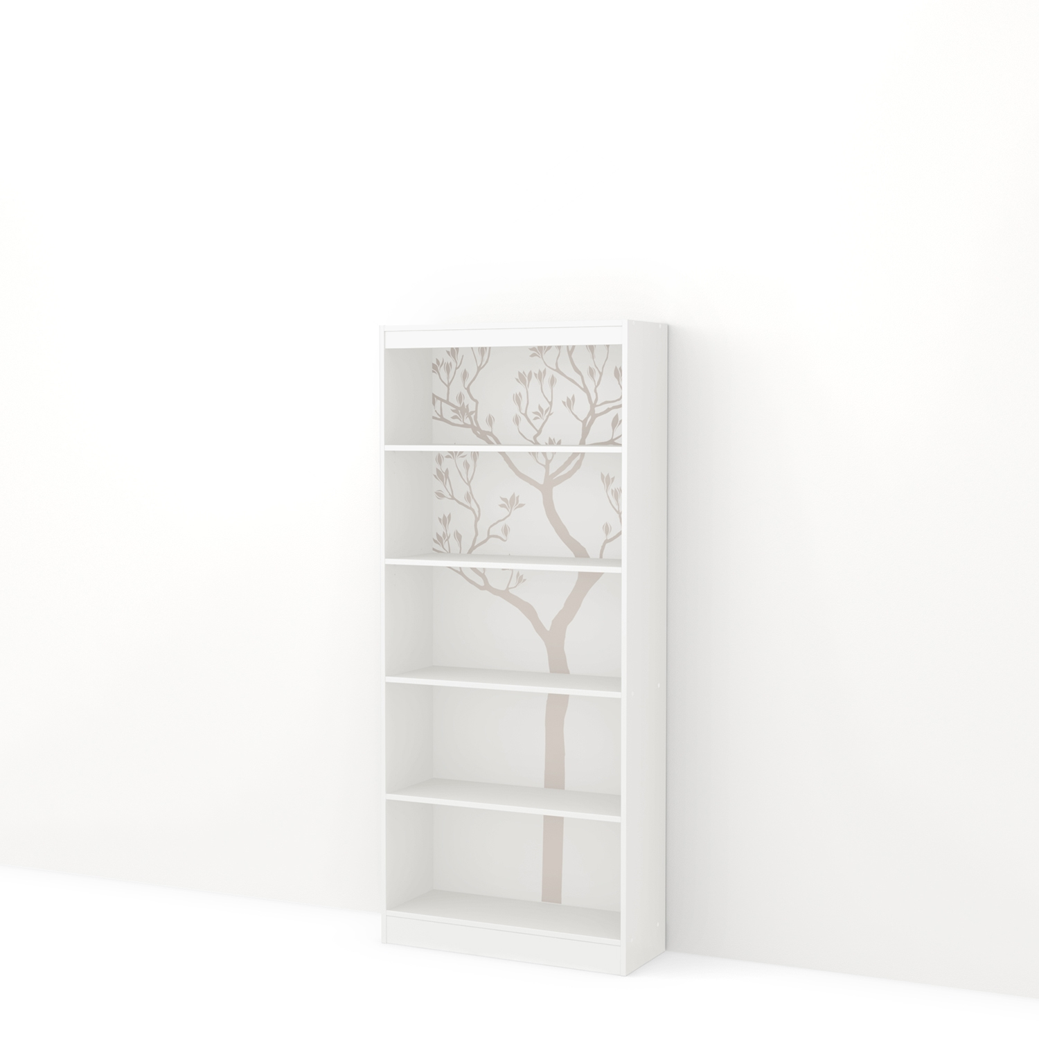 Axess Bookcase - 5 Shelves, Romantic Tree Decals, Pure White - SS-8050131K