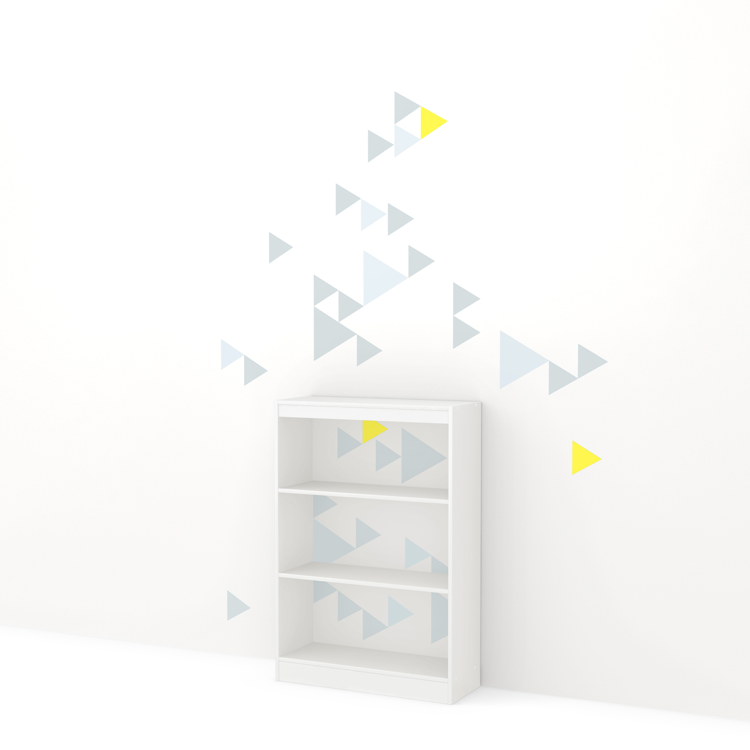 Axess Bookcase - 3 Shelves, Funny Triangles Decals, Pure White - SS-8050132K